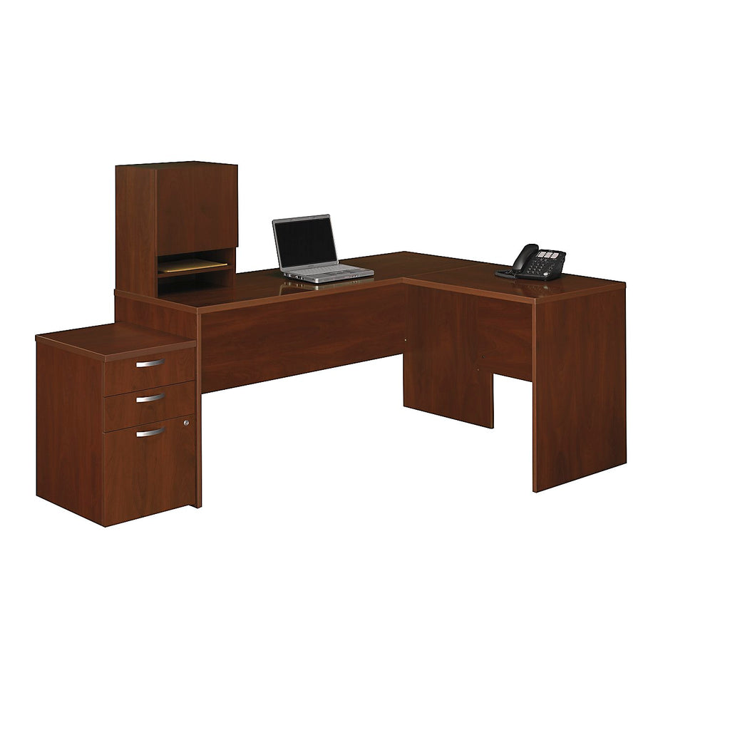 Bush Business Furniture Venture Line Hansen Cherry 66W x 52D L-WorkStation w/ Micro Hutch and 3 Drawer Mobile Pedestal ; UPC: 042976609566 ; Image 1