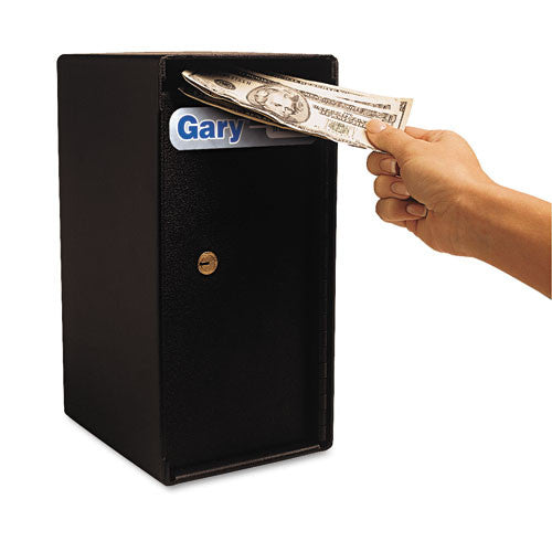 UNITED_Theft-Resistant Compact Cash Trim Safe, .2 ft, 6w x 7d x 12h, Black_	 - 1