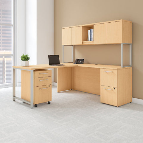 Bush 400 Series 72W x 22D Desk with 48W Return, Natural Maple 400S127AC ; UPC: 042976072759 ; Image 2