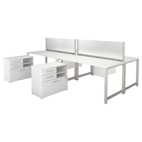 Bush Business Furniture 400 Series 60W x 30D 4 Person Workstation with Table Desks and Storage in White (400S135WH) ; Image 1