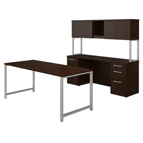 Bush 400 Series 72W x 30D Table Desk with Double Pedestals, Mocha Cherry 400S137MR ; UPC: 042976073091 ; Image 1