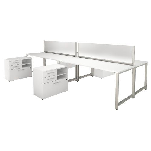 Bush Business Furniture 400 Series 72W x 30D 4 Person Workstation with Table Desks and Storage in White (400S140WH) ; Image 1