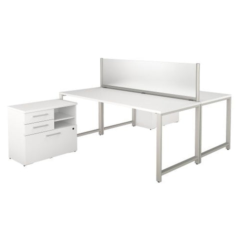Bush Business Furniture 400 Series 72W x 30D 2 Person Workstation with Table Desks and Storage in White (400S141WH) ; Image 1