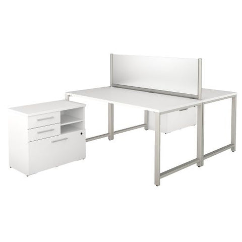 Bush Business Furniture 400 Series 60W x 30D 2 Person Workstation with Table Desks and Storage in White (400S142WH) ; Image 1