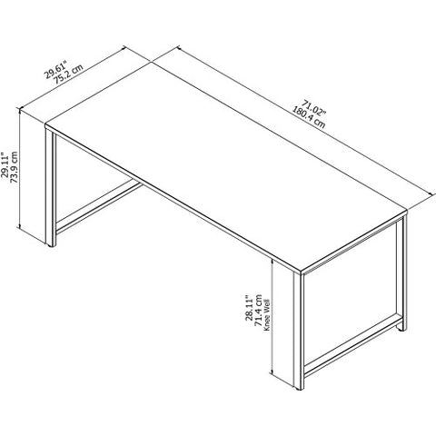 Bush 400 Series 72W X 30D Table Desk, White 400S145WH ; UPC: 042976073336 ; Image 4