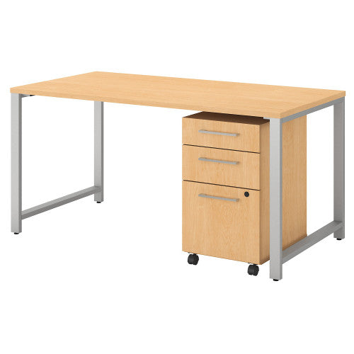 Bush 400 Series 60W X 30D Table Desk with 3 Drawer Mobile Pedestal, Natural Maple 400S150AC ; UPC: 042976073411 ; Image 1