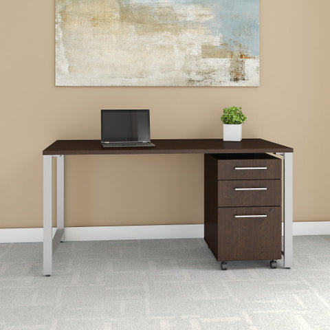 Bush 400 Series 60W X 30D Table Desk with 3 Drawer Mobile Pedestal, Mocha Cherry 400S150MR ; UPC: 042976073435 ; Image 2