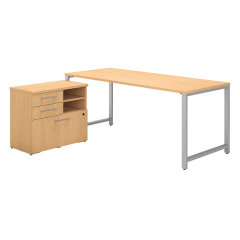 Bush 400 Series 72W X 30D Table Desk with Piler Filer Cabinet, Natural Maple 400S157AC ; UPC: 042976033064 ; Image 1