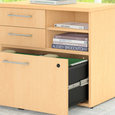 Bush 400 Series 72W X 30D Table Desk with Piler Filer Cabinet, Natural Maple 400S157AC ; UPC: 042976033064 ; Image 4