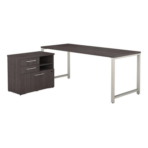 Bush Business Furniture 400 Series 72W x 30D Table Desk with Storage in Storm Gray/Storm Gray (400S157SG) ; Image 1