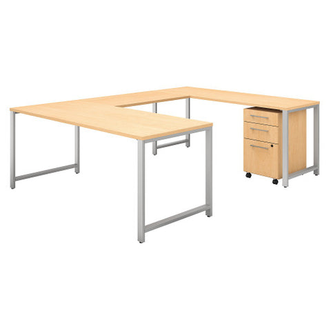 Bush 400 Series 72W x 30D U Station with 3 Drawer Mobile Pedestal, Natural Maple 400S159AC ; UPC: 042976033125 ; Image 1