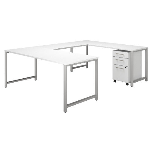 Bush 400 Series 72W x 30D U Station with 3 Drawer Mobile Pedestal, White 400S159WH ; UPC: 042976059767 ; Image 1