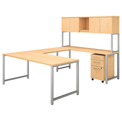 Bush 400 Series 72W x 30D U Station with Hutch and 3 Drawer Mobile Ped, Natural Maple 400S160AC ; UPC: 042976073473 ; Image 1