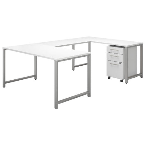 Bush 400 Series 60W x 30D U Station with 3 Drawer Mobile Pedestal, White 400S161WH ; UPC: 042976073558 ; Image 1