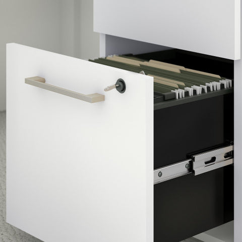 Bush 400 Series 60W x 30D U Station with 3 Drawer Mobile Pedestal, White 400S161WH ; UPC: 042976073558 ; Image 3