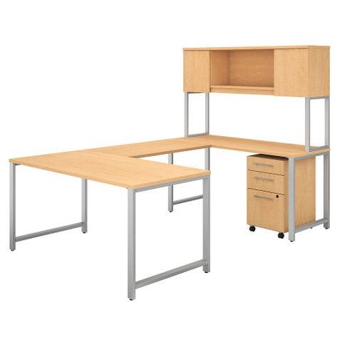 Bush 400 Series 60W x 30D U Station with Hutch & 3 Drawer Mobile Ped, Natural Maple 400S162AC ; UPC: 042976033187 ; Image 1
