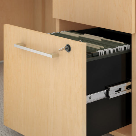 Bush 400 Series 60W x 30D U Station with Hutch & 3 Drawer Mobile Ped, Natural Maple 400S162AC ; UPC: 042976033187 ; Image 2