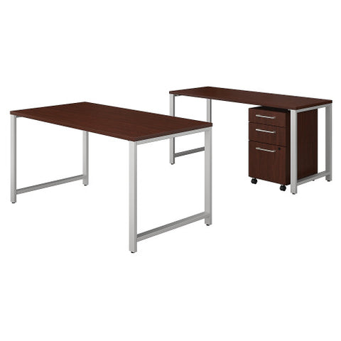 Bush 400 Series 60W X 30D Table Desk w Credenza & 3 Drawer Mobile Ped, Harvest Cherry 400S168CS ; UPC: 042976035150 ; Image 1