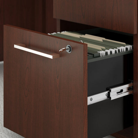 Bush 400 Series 60W X 30D Table Desk w Credenza & 3 Drawer Mobile Ped, Harvest Cherry 400S168CS ; UPC: 042976035150 ; Image 2