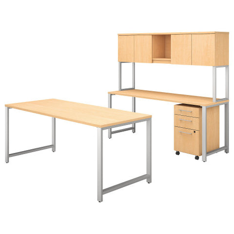 Bush 400 Series 72W X 30D Table Desk w Credenza, Hutch & Mobile Ped, Natural Maple 400S169AC ; UPC: 042976073572 ; Image 1