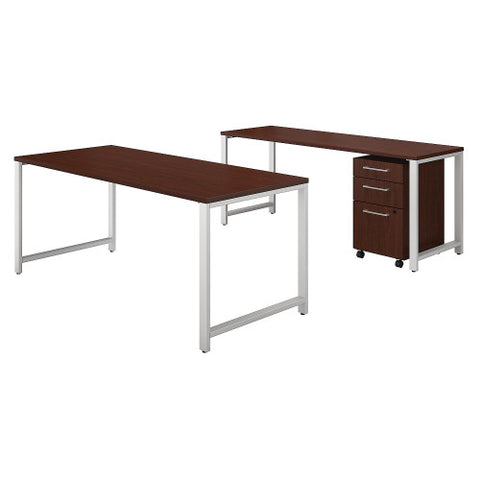 Bush 400 Series 72W X 30D Table Desk w Credenza & 3 Drawer Mobile Ped, Harvest Cherry 400S170CS ; UPC: 042976035198 ; Image 1