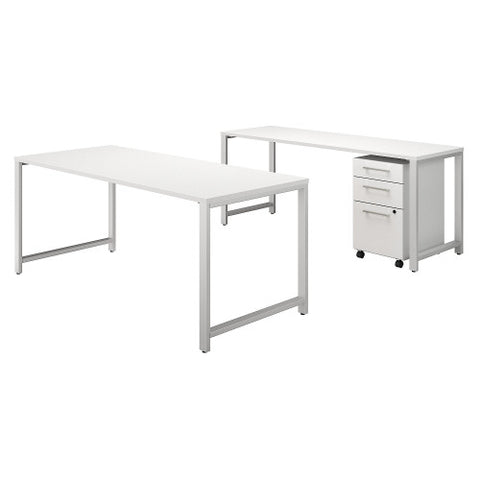Bush 400 Series 72W X 30D Table Desk w Credenza & 3 Drawer Mobile Ped, White 400S170WH ; UPC: 042976059828 ; Image 1
