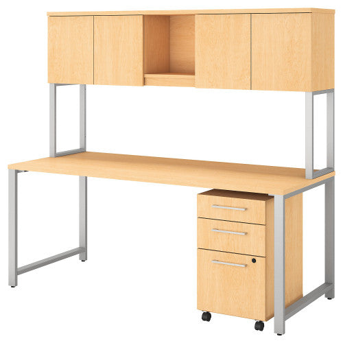 Bush 400 Series 72W X 30D Table Desk with Hutch and Mobile Pedestal, Natural Maple 400S174AC ; UPC: 042976073695 ; Image 1