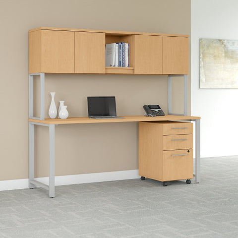 Bush 400 Series 72W X 30D Table Desk with Hutch and Mobile Pedestal, Natural Maple 400S174AC ; UPC: 042976073695 ; Image 2