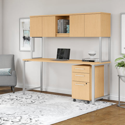 Bush 400 Series 72W X 30D Table Desk with Hutch and Mobile Pedestal, Natural Maple 400S174AC ; UPC: 042976073695 ; Image 3