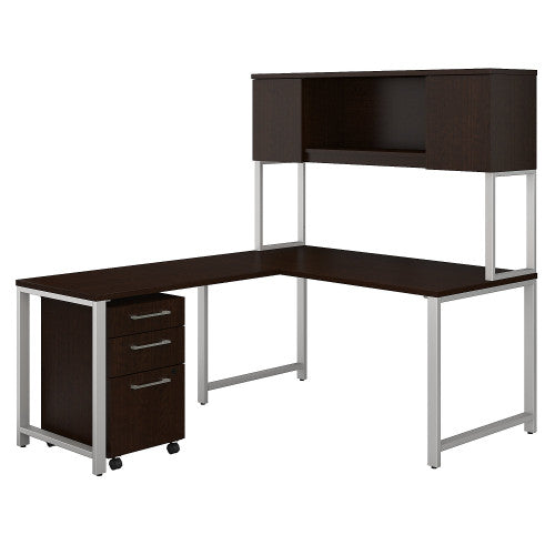 Bush 400 Series 60W X 30D Table Desk with 42W Return, Hutch & Storage, Mocha Cherry 400S180MR ; UPC: 042976059064 ; Image 1