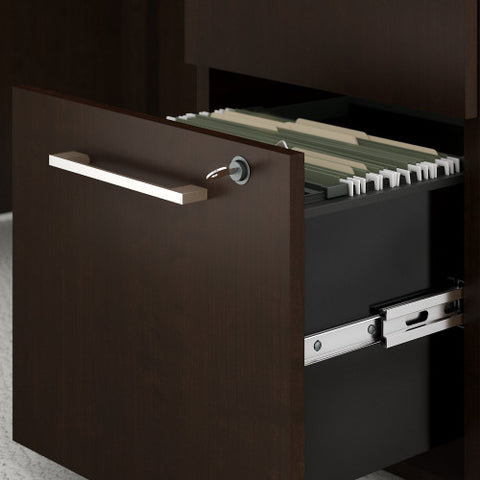 Bush 400 Series 60W X 30D Table Desk with 42W Return, Hutch & Storage, Mocha Cherry 400S180MR ; UPC: 042976059064 ; Image 2