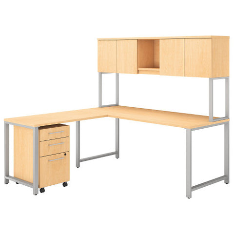 Bush 400 Series 72W X 30D Table Desk w 42W Return & Mobile Ped, Natural Maple 400S181AC ; UPC: 042976073756 ; Image 1