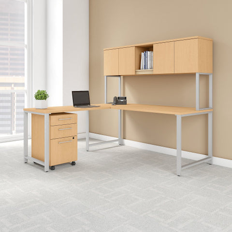 Bush 400 Series 72W X 30D Table Desk w 42W Return & Mobile Ped, Natural Maple 400S181AC ; UPC: 042976073756 ; Image 2