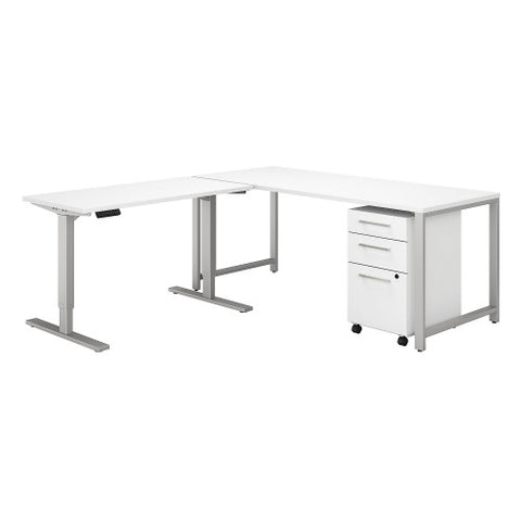 Bush 400 Series 72W Desk with 48W Height Adjustable Return and Storage, White 400S188WH ; UPC: 042976059927 ; Image 1