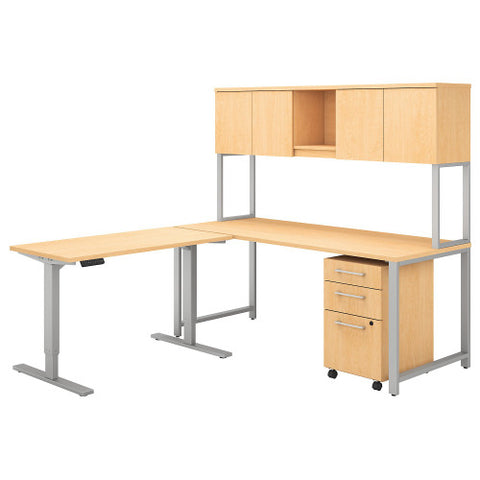 Bush 400 Series 72W Desk with 48W Height Adjustable Return and Storage, Natural Maple 400S189AC ; UPC: 042976073794 ; Image 1
