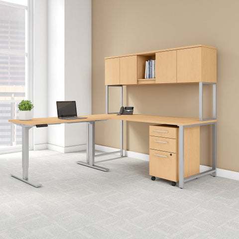 Bush 400 Series 72W Desk with 48W Height Adjustable Return and Storage, Natural Maple 400S189AC ; UPC: 042976073794 ; Image 2