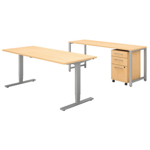 Bush 400 Series 72W Height Adjustable Standing Desk with Storage, Natural Maple 400S192AC ; UPC: 042976073831 ; Image 1