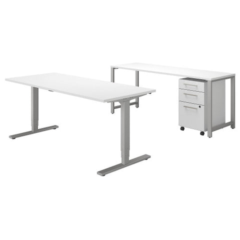 Bush 400 Series 72W Height Adjustable Standing Desk with Storage, White 400S192WH ; UPC: 042976073879 ; Image 1