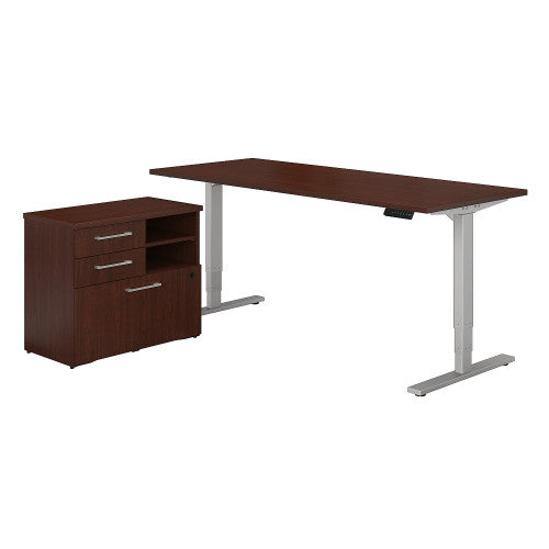 Bush 400 Series 72W Height Adjustable Standing Desk with File Cabinet, Harvest Cherry 400S195CS ; UPC: 042976060480 ; Image 1