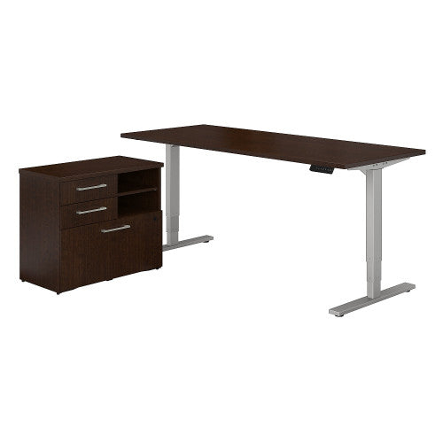 Bush 400 Series 72W Height Adjustable Standing Desk with File Cabinet, Mocha Cherry 400S195MR ; UPC: 042976059439 ; Image 1