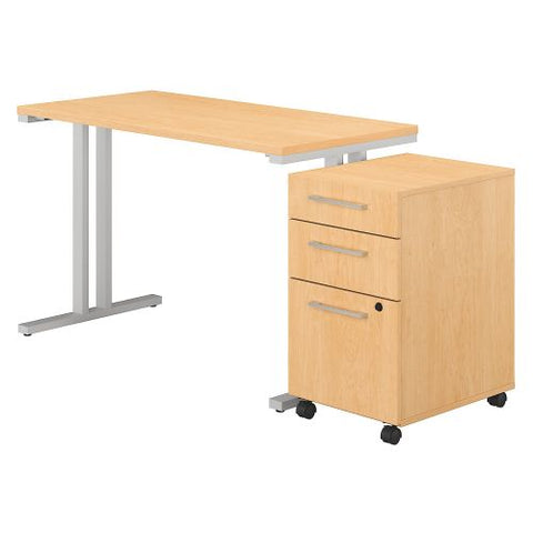 Bush Business Furniture 400 Series 48W x 24D Table Desk with 3 Drawer Mobile File Cabinet in Natural Maple (400S215AC) ; Image 1