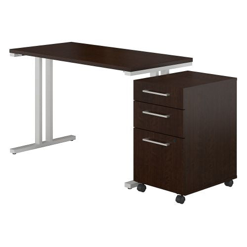 Bush Business Furniture 400 Series 48W x 24D Table Desk with 3 Drawer Mobile File Cabinet in Mocha Cherry (400S215MR) ; Image 1