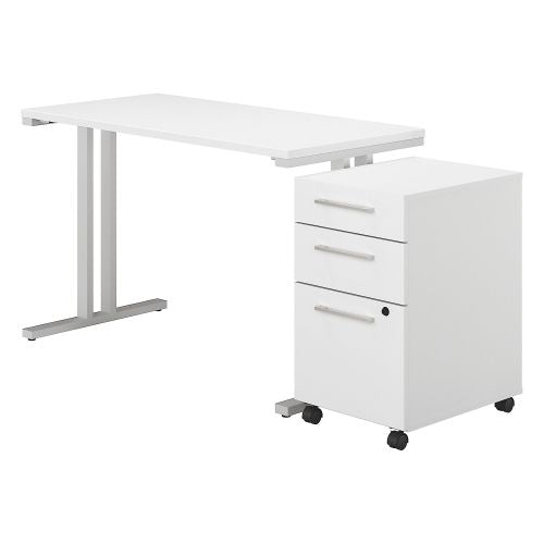 Bush Business Furniture 400 Series 48W x 24D Table Desk with 3 Drawer Mobile File Cabinet in White (400S215WH) ; Image 1