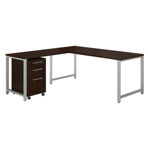 Bush Business Furniture 400 Series 72W L Shaped Desk with 48W Return and 3 Drawer Mobile File Cabinet in Mocha Cherry/Mocha Cherry (400S245MR) ; Image 1