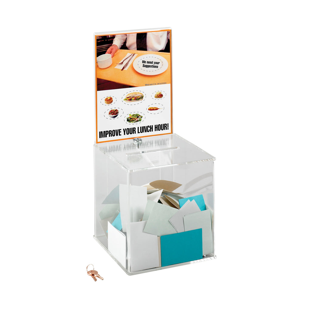 Safco Products Large Acrylic Collection Boxes 4234CL(Image 1)