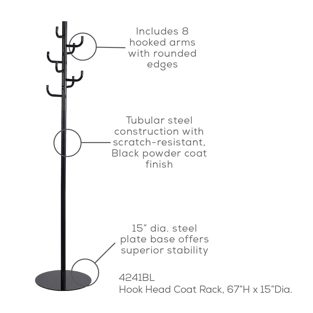 Safco Products Hook Head Coat Rack 4241BL(Image 1)