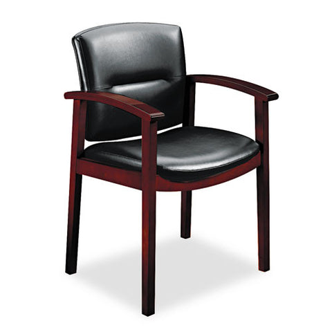 HON Park Avenue Hardwood and Leather Guest Chair HON5003NSS11, Black (UPC:020459565493)