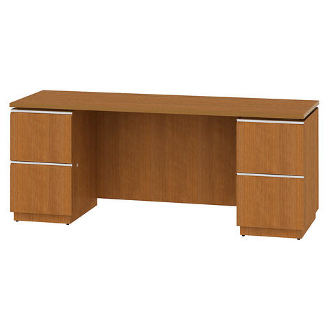 Bush Business Furniture Milano2 72W Double Pedestal Kneespace Credenza in Golden Anigre ; UPC: 042976504489 ; Image 1