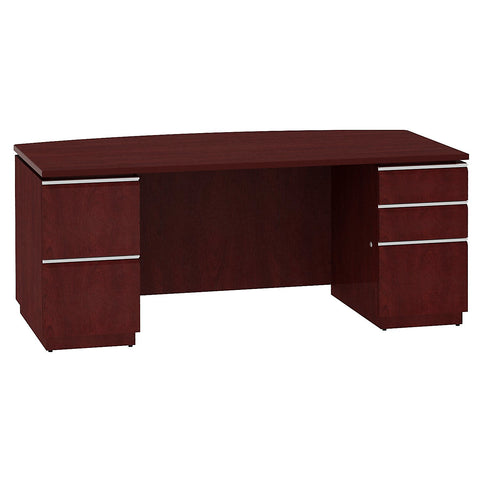 Bush Business Furniture Milano2 Collection 72W Bow Front Double Pedestal Desk in Harvest Cherry ; UPC: 042976011642 ; Image 1
