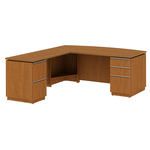 Bush Business Furniture Milano2 72W Left Hand Double Pedestal L-Desk in Golden Anigre ; UPC: 042976011673 ; Image 1